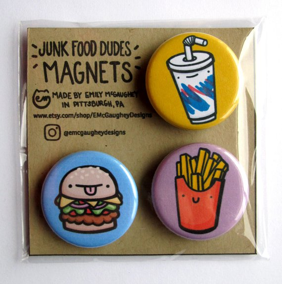 Emily McGaughey - Screen Printing & Illustration - Junk Food Dudes Magnet 1 - Pack of 3