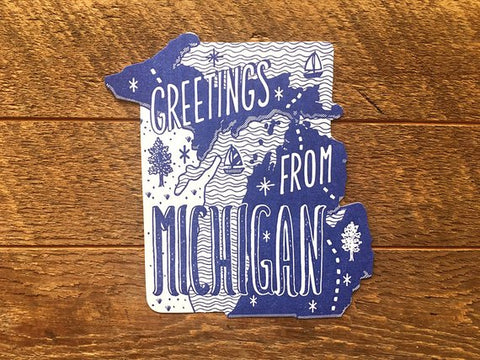 Noteworthy Paper & Press - Michigan State Postcard