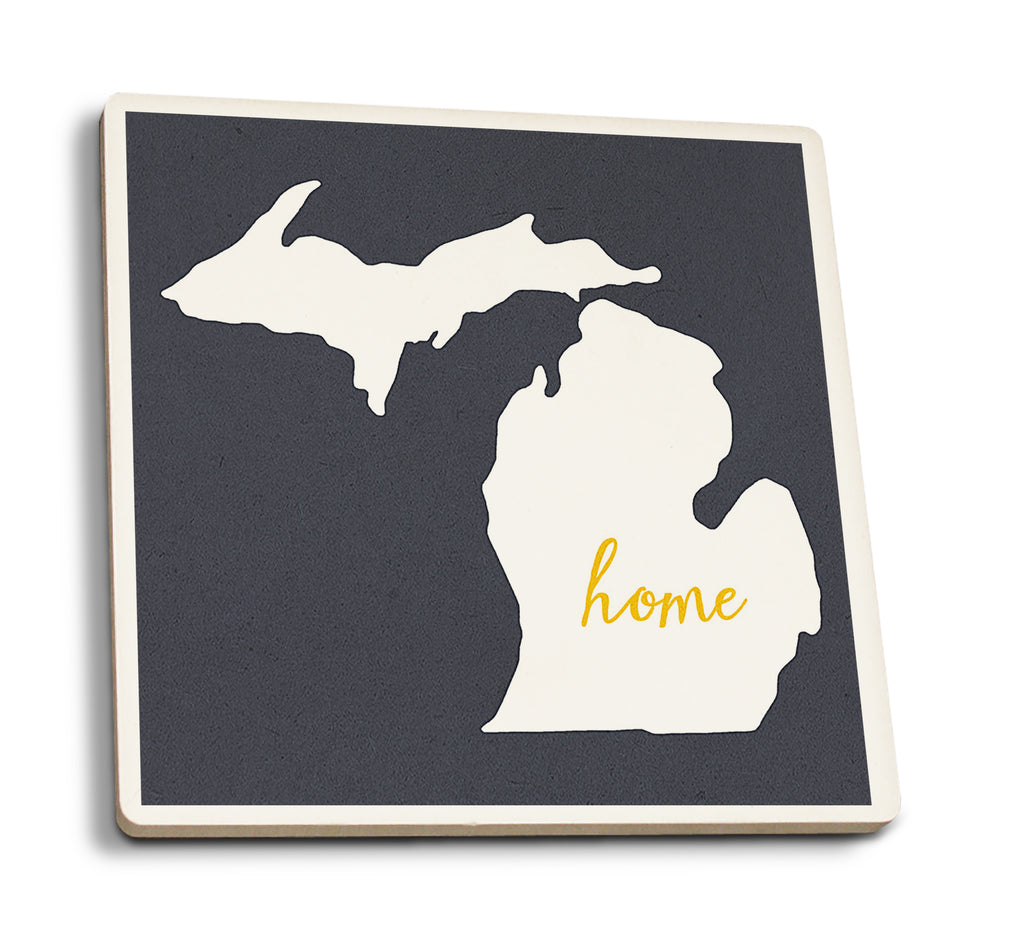 Lantern Press - Michigan - Home State White on Gray Ceramic Coaster