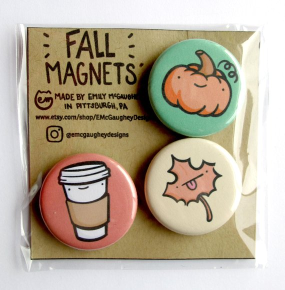 Emily McGaughey - Screen Printing & Illustration - Fall Magnet - Pack of 3