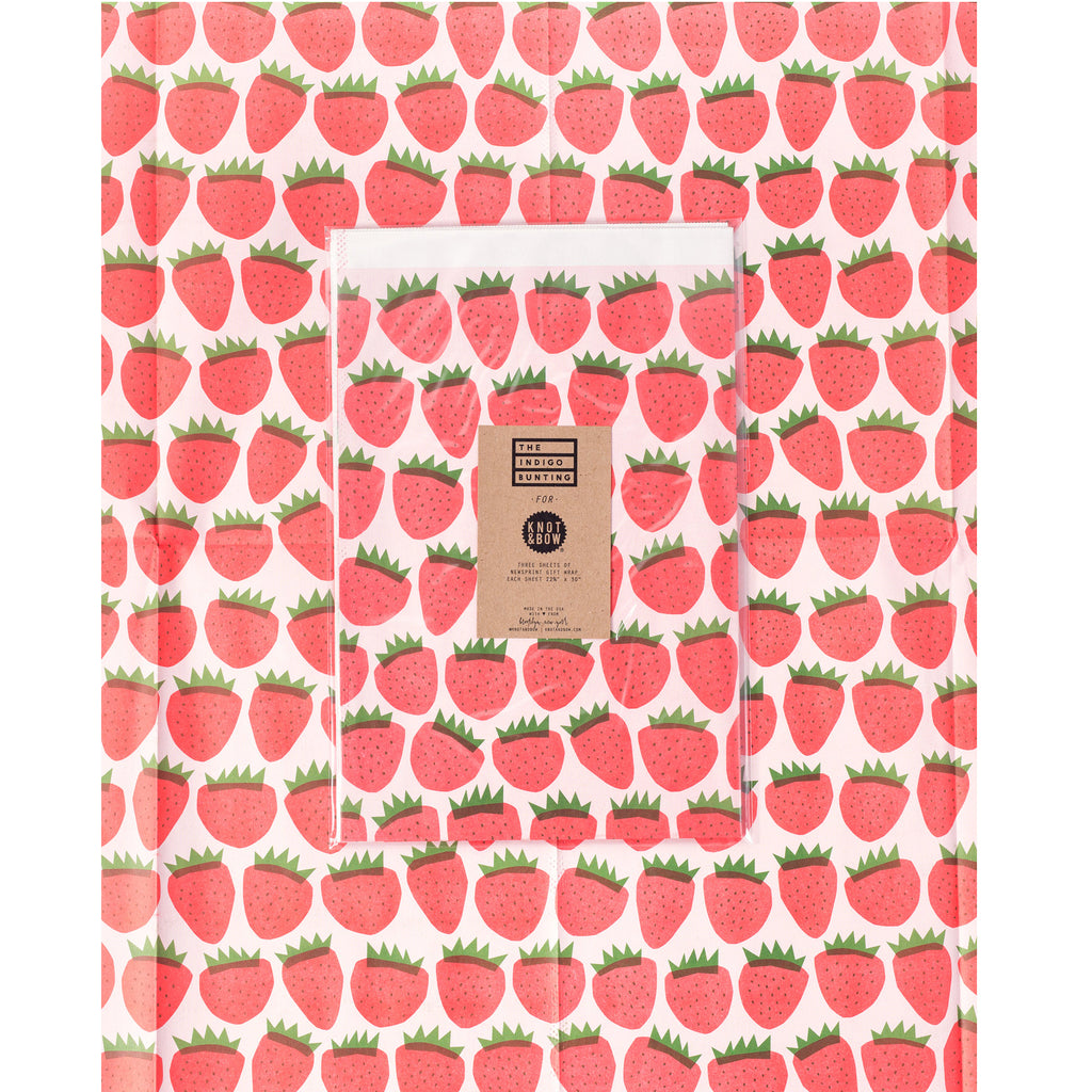 Knot & Bow - Strawberries Newsprint Wrapping Paper