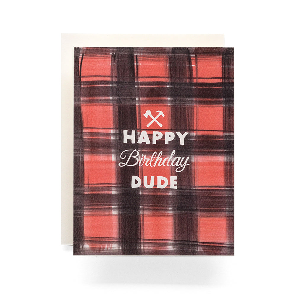 Antiquaria - Buffalo Plaid Birthday Greeting Card