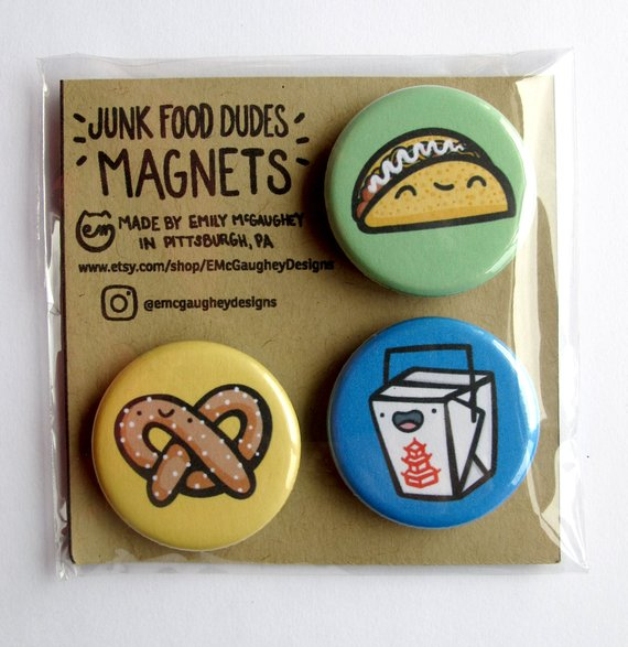 Emily McGaughey - Screen Printing & Illustration - Junk Food Dudes Magnet 2 - Pack of 3