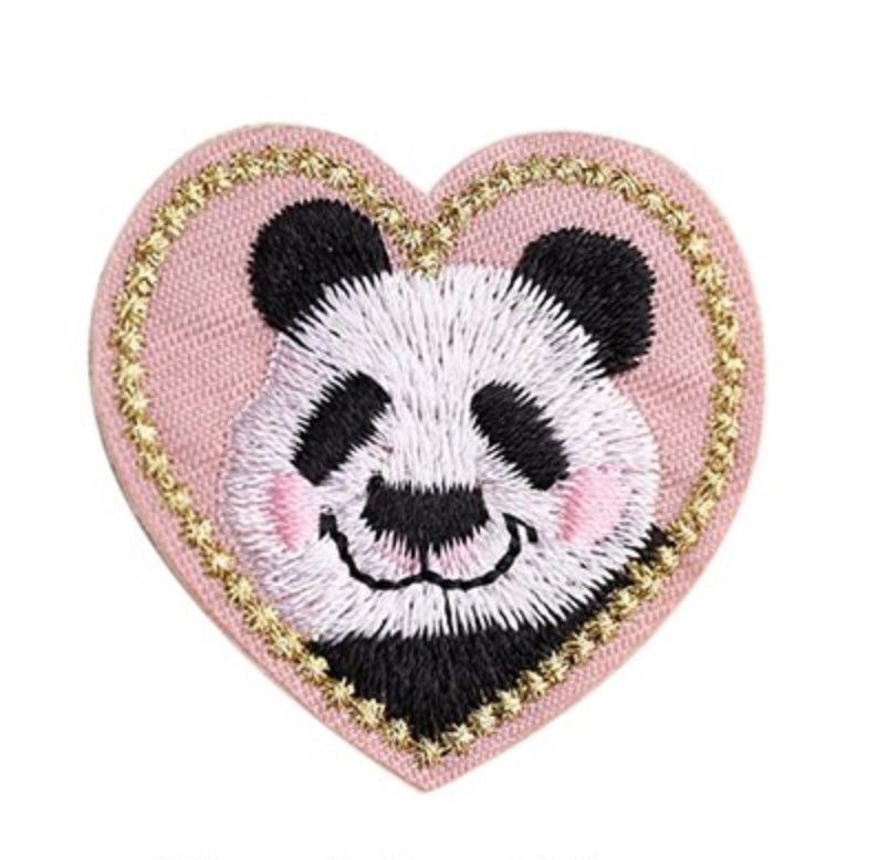 Iron On Panda Heart Patch