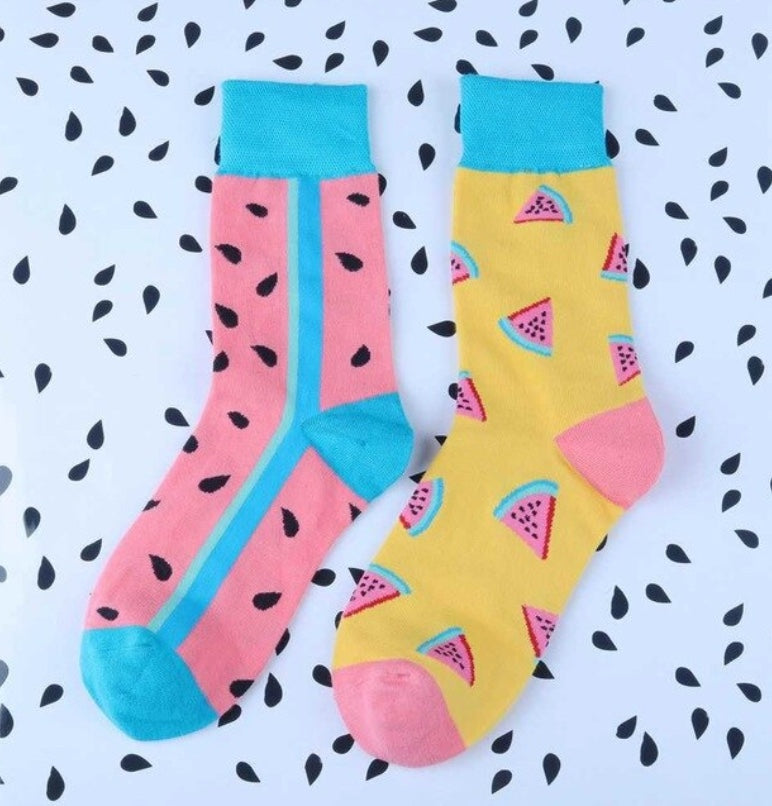 Watermelon Mismatched Quirky Socks
