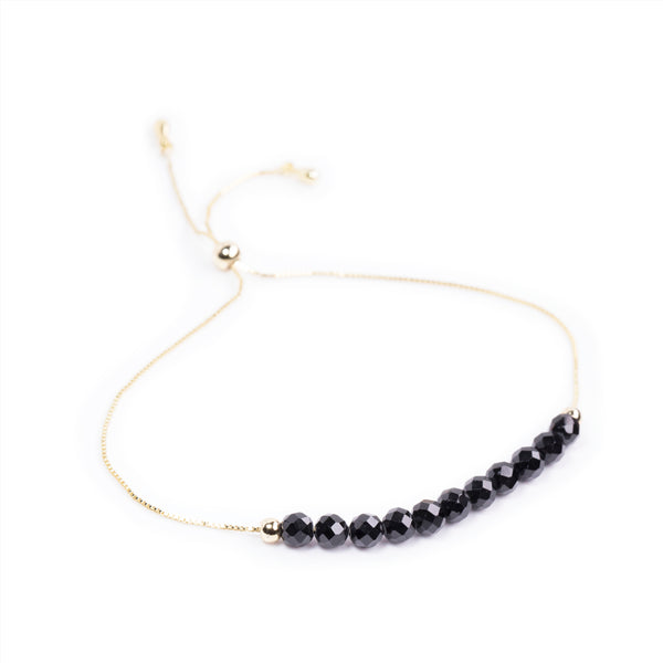 Black Onyx Power Crystal Bracelet - Protection | Adjustable Chain