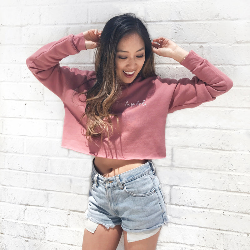 Boss Babe - Mauve Crop Sweater