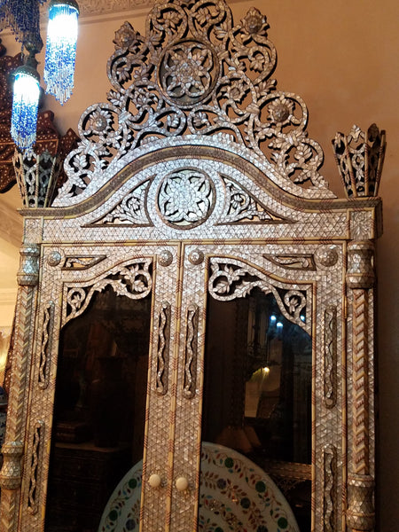 Syrian mother of pearl inlay armoire