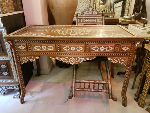 syrian inlay mother of pearl desk console