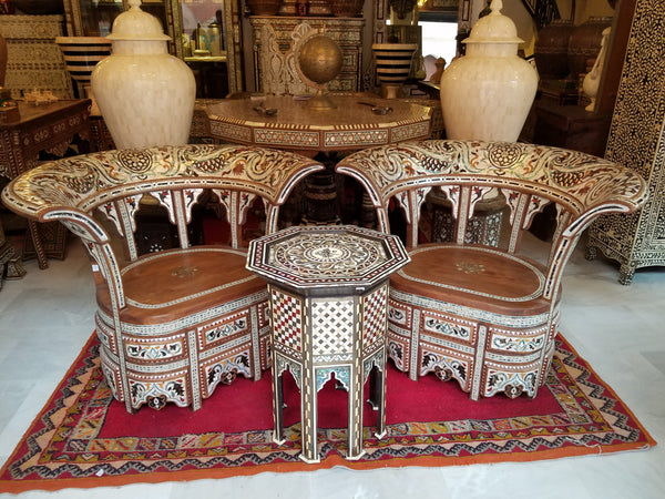 Mother of pearl inlay chairs