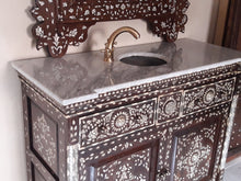 Antique syrian mother of pearl vanity sink with mirror and brass faucet