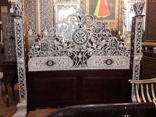 Damascus mother of pearl queen size bed set