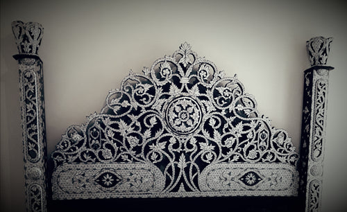 Syrian white mother of pearl shell headboard bed