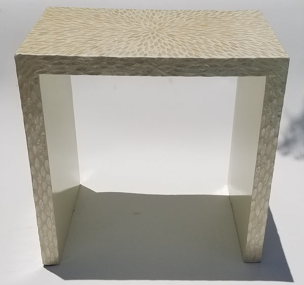 Contemporary capiz shell side table