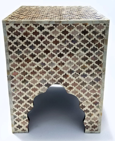 fleur de lis mother of pearl Square accent table