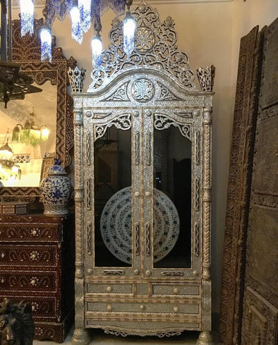antique inlaid syrian mother of pearl armoire