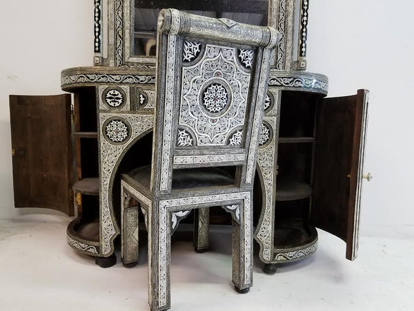 Moroccan Inlaid bone set | Exquisite moroccan furniture | inlay bone mirror | inlay bone cabinet | inlay bone chair