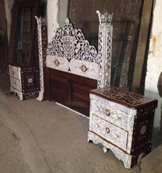 Syrian mother of pearl king size bed set