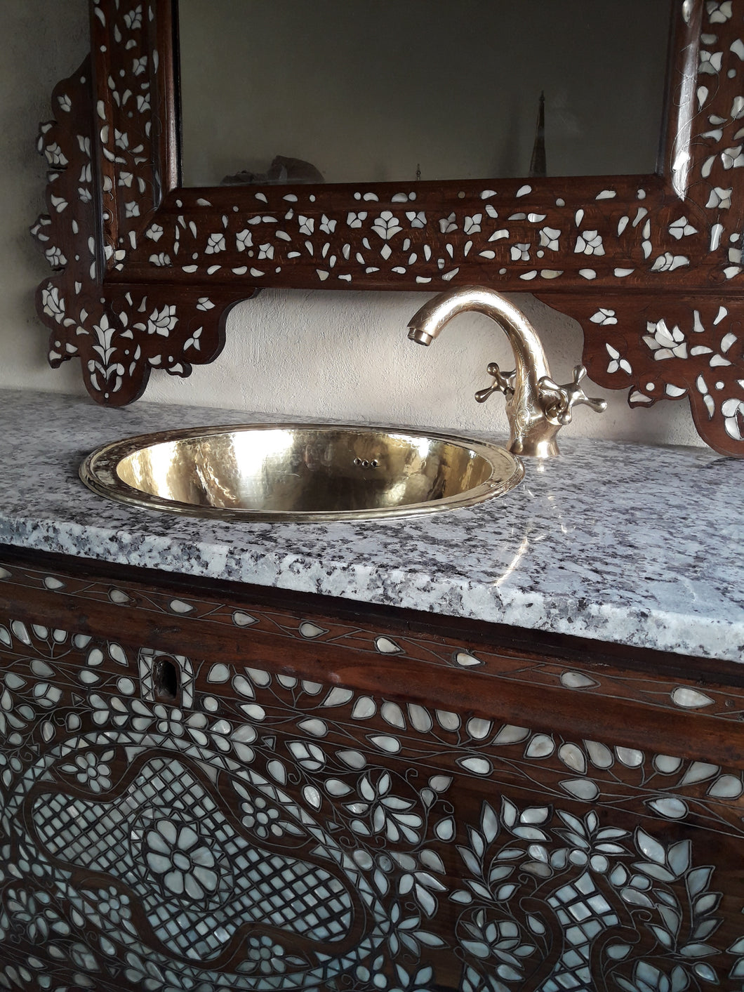 Antique syrian mother of pearl vanity sink with mirror & brass faucet