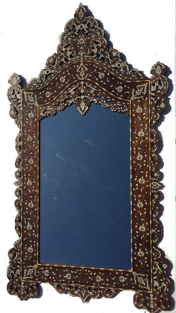Large walnut mother of pearl inlay mirror