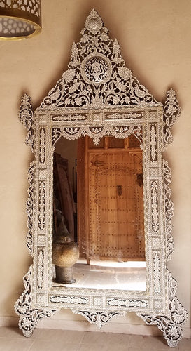Extra large white syrian mother of pearl mirror. Compare our prices with 1stdibs