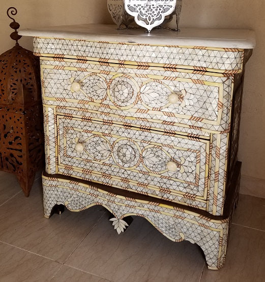 Damascus mother of pearl nightstand
