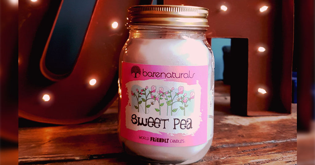 Barenaturals Scented Candle - Sweet Pea Fragrance