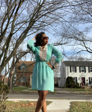 Vintage Seafoam Green Sheer Secretary Dress