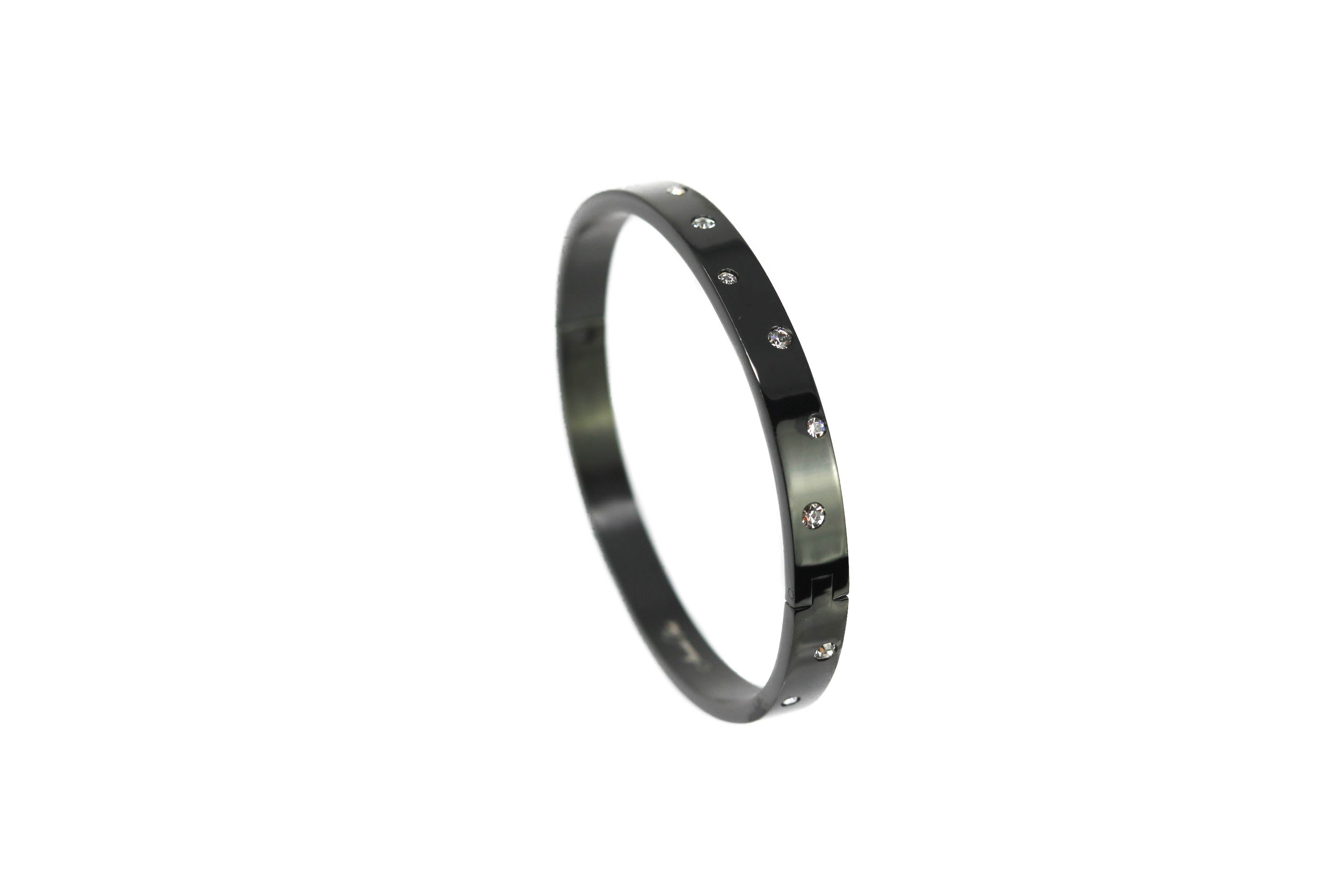 Black Galaxy Matte Black Swarovski Crystal Bangle