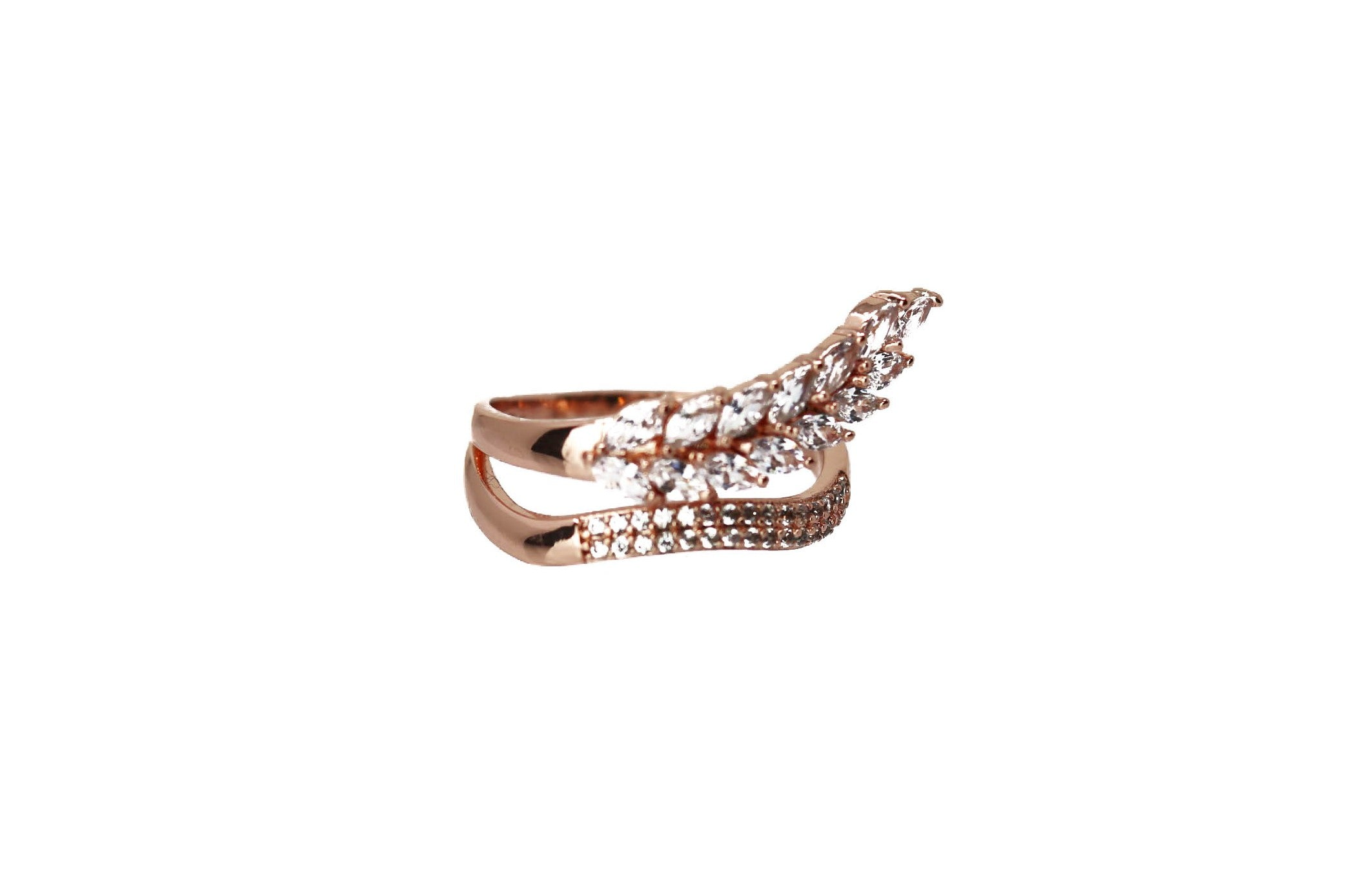Feather Rose Rose Gold Ring with Swarovski Crystals