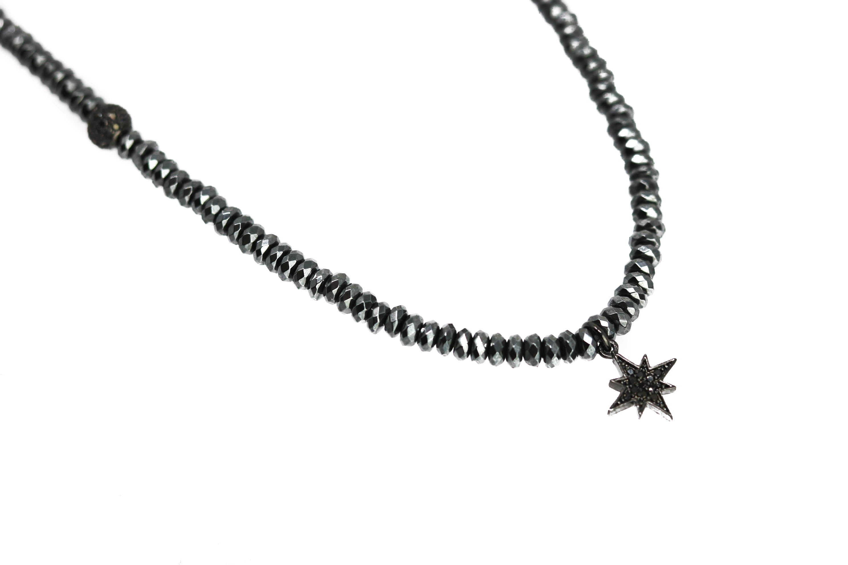 Black Star Beaded Necklace