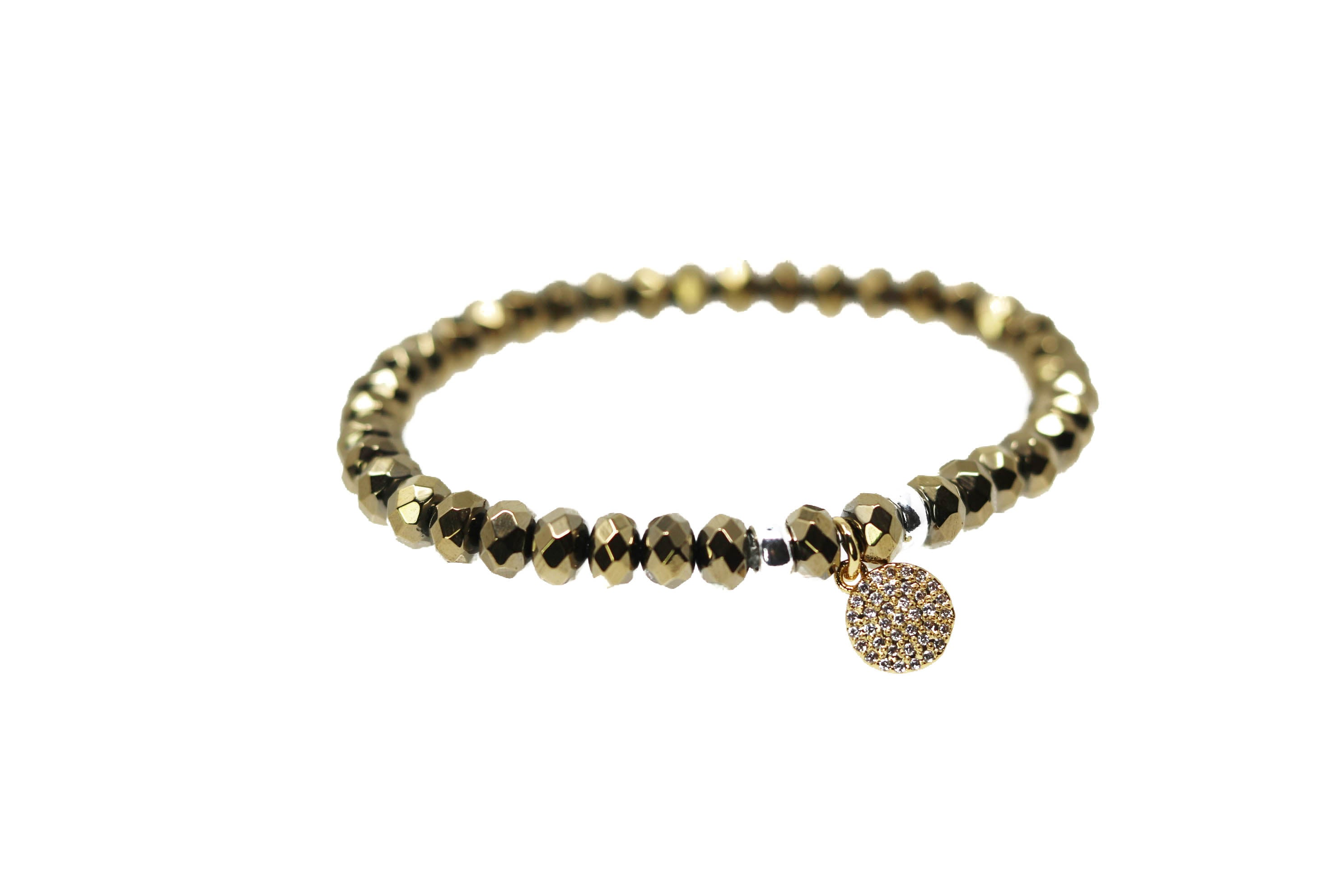 Pave Gold Gold Beaded Bracelet