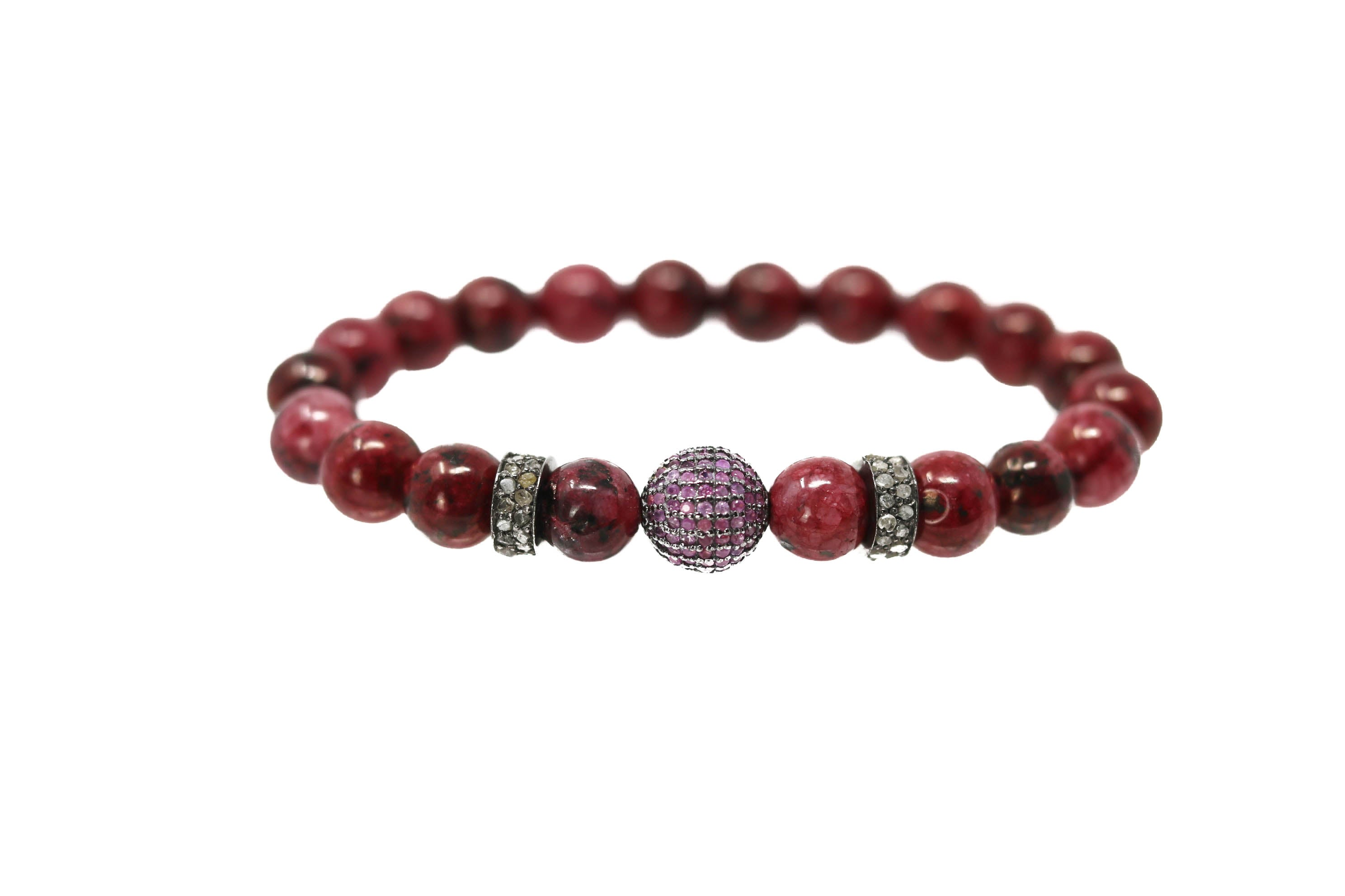 Ruby Red Polki Diamonds, Red Beads