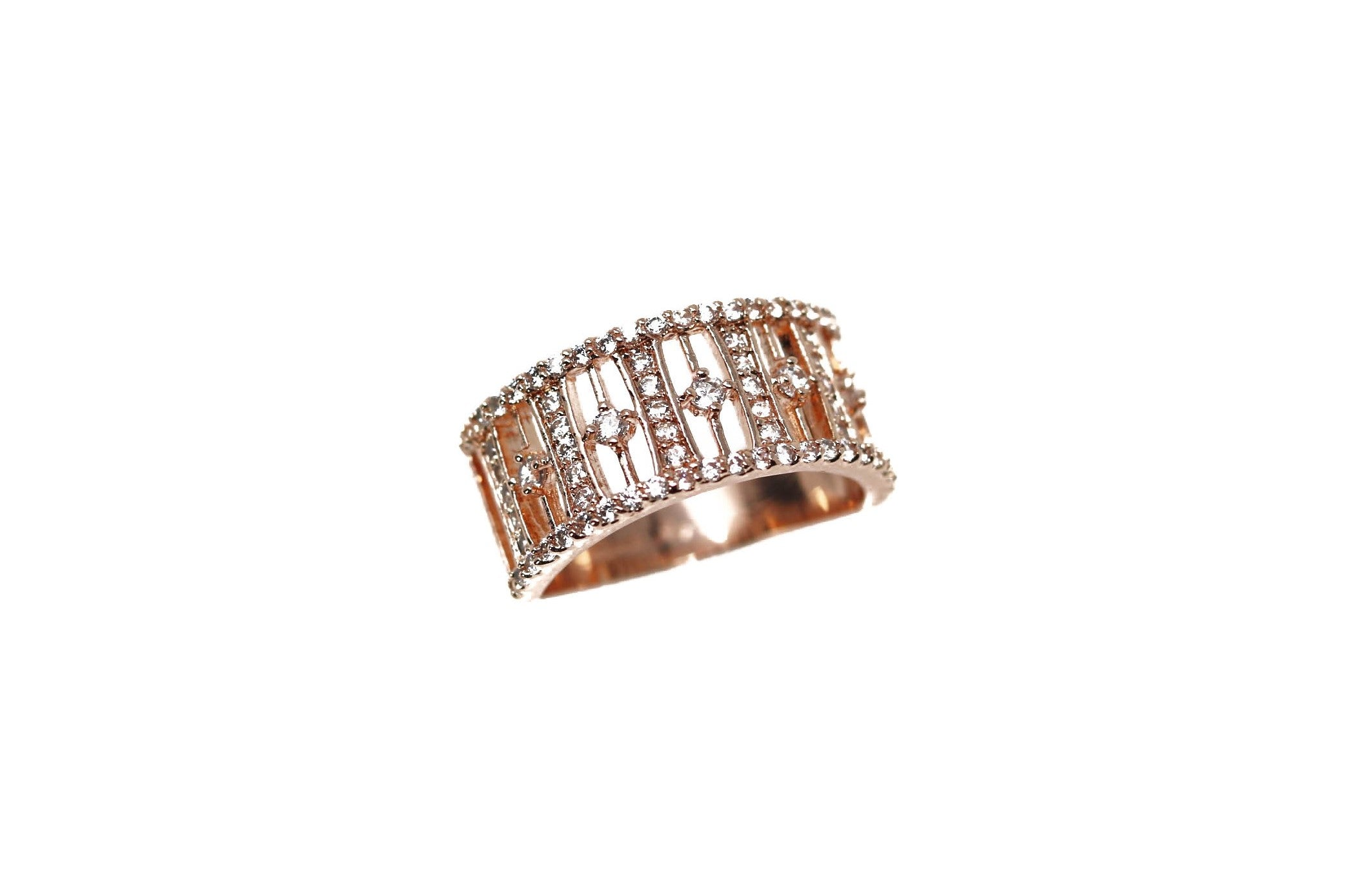 Pave Crystal Rose Rose Gold Ring