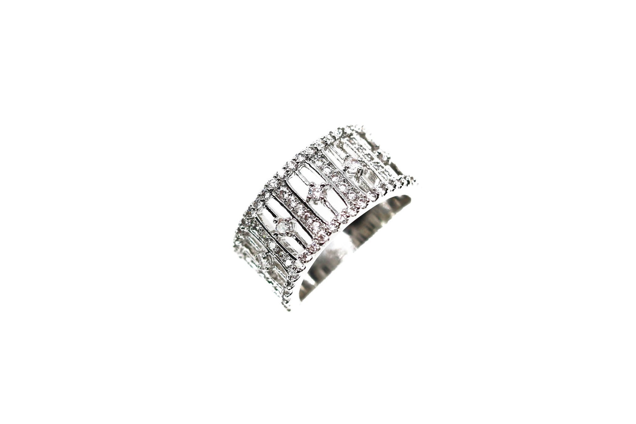 Pave Crystal Silver Silver Diamond Ring
