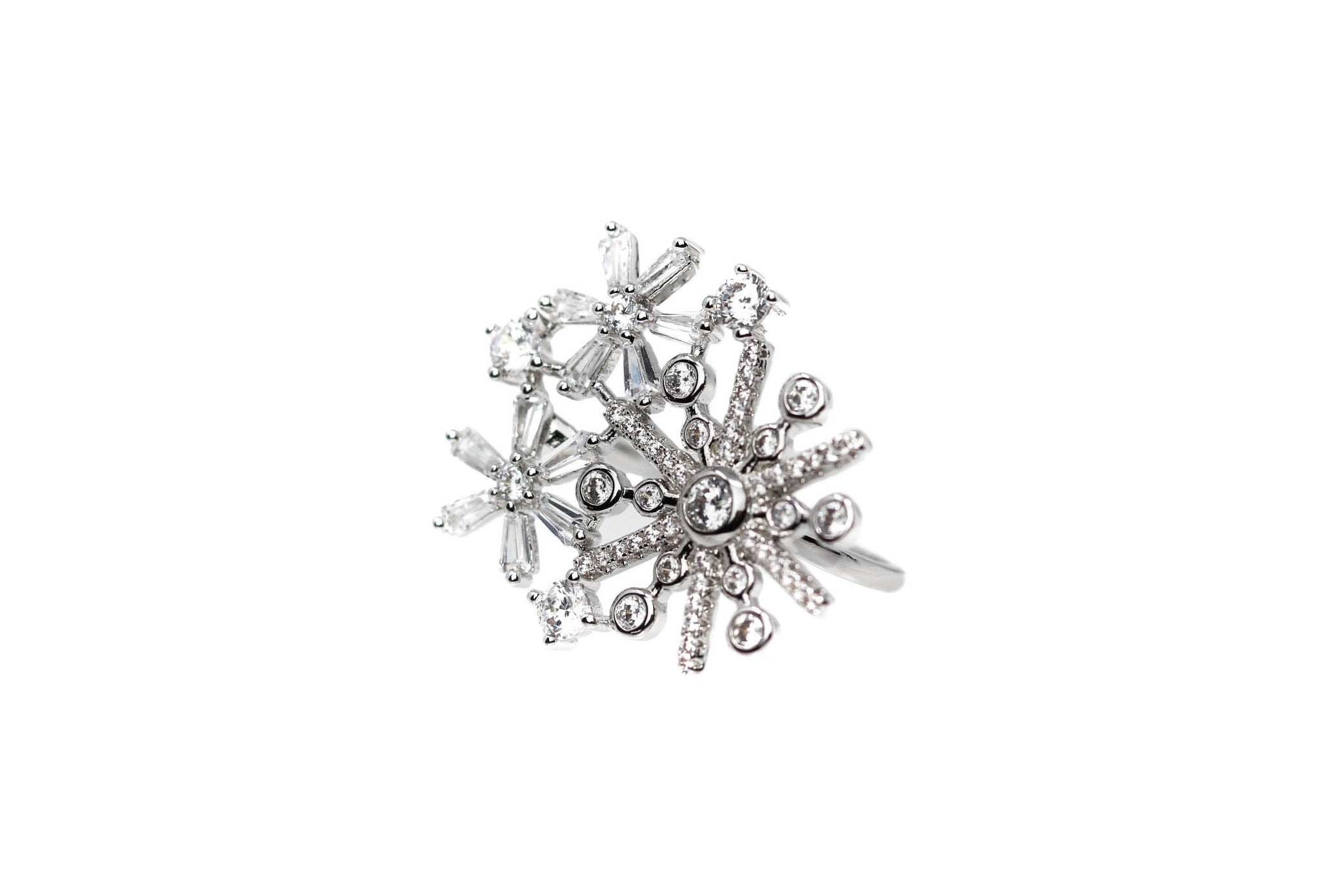 Star Diamond Statement Silver Ring