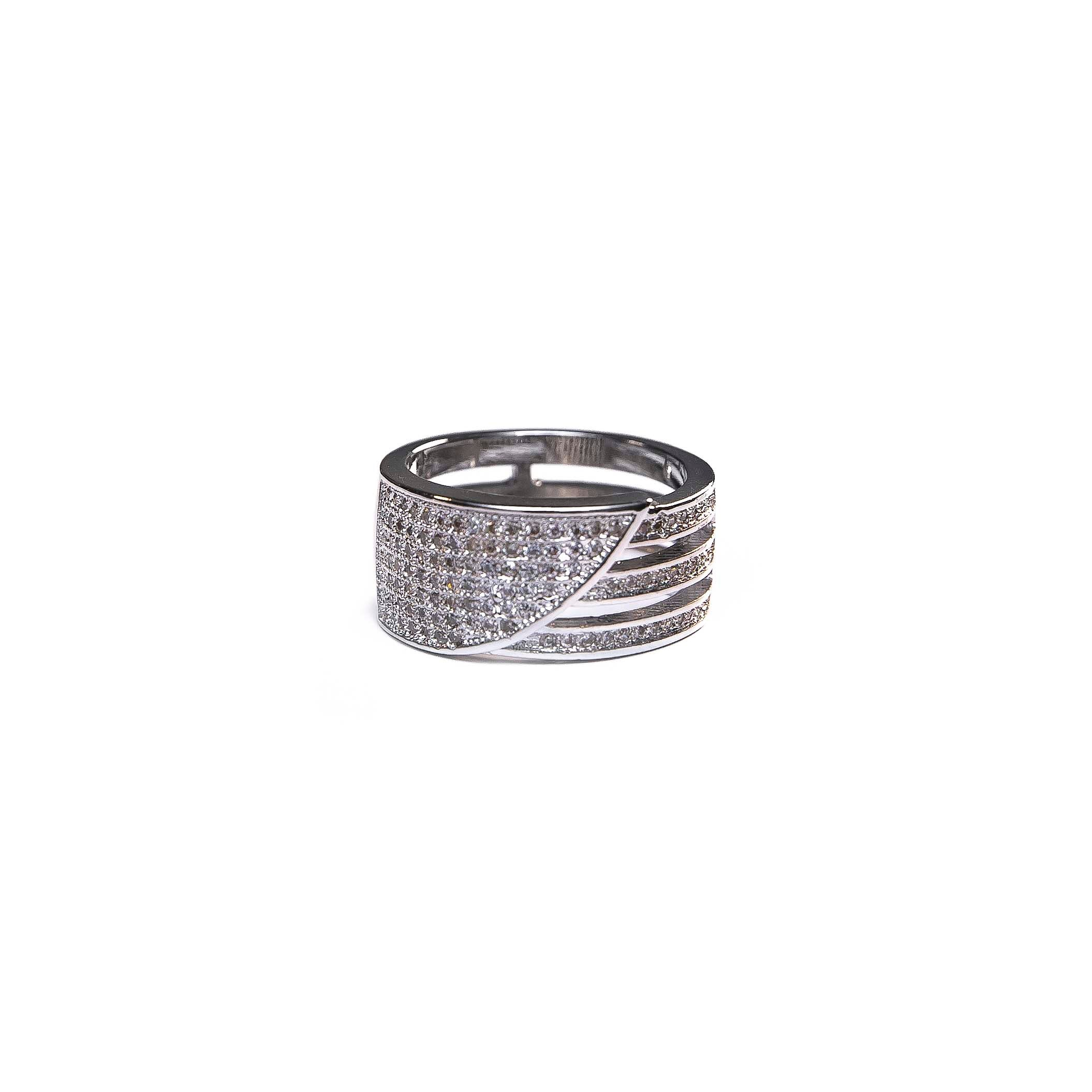 Silver Slice Diamond Ring