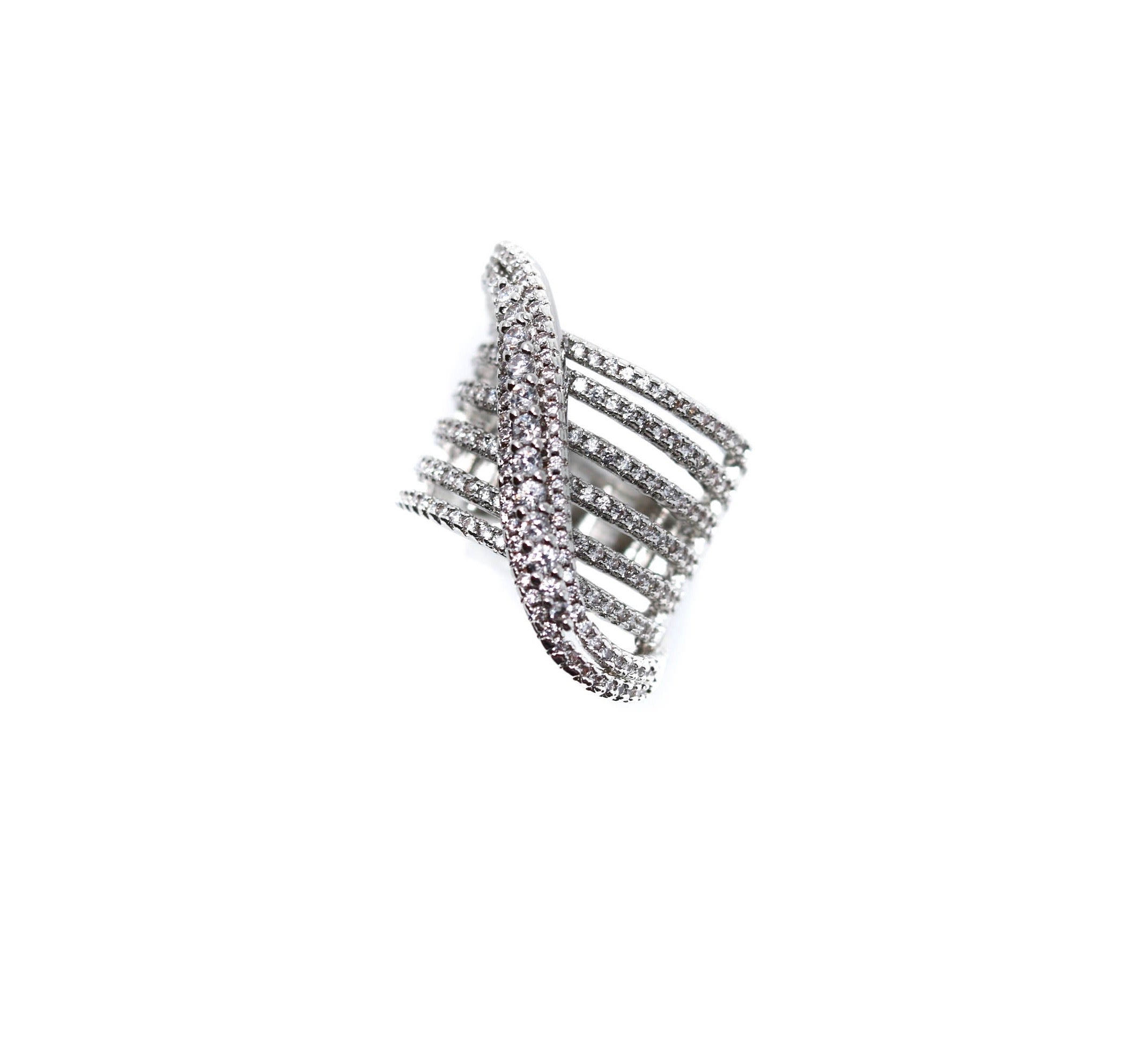Crystal Crossover Silver Statement Ring