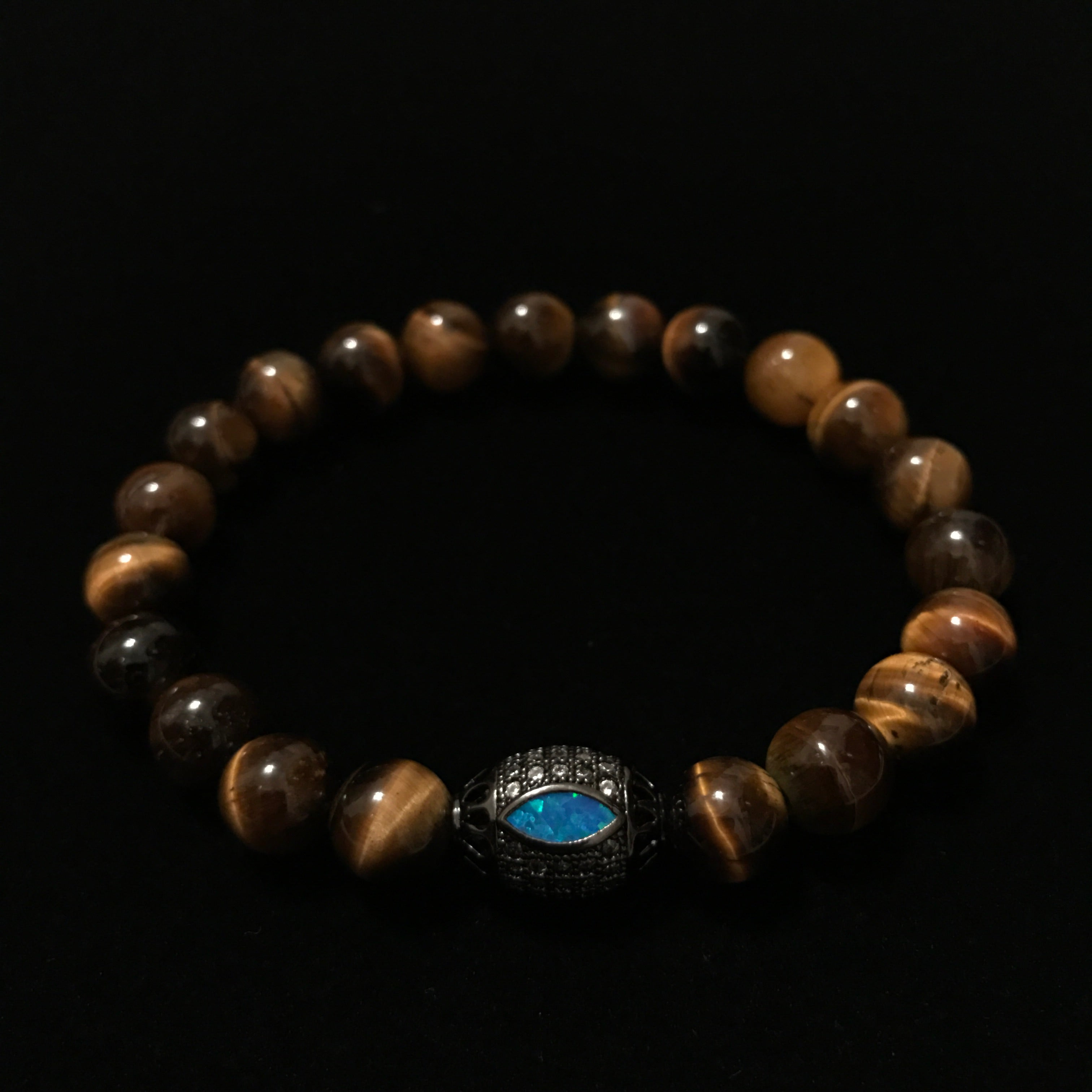 Bold Tiger's Eye Tigers Eye with Opal Silver bead