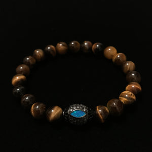 Tigers Eye with Opal Silver bead