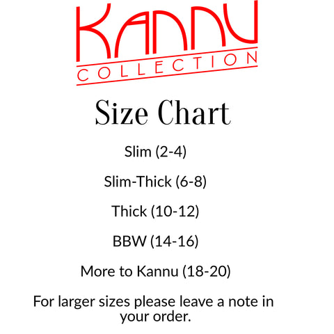Kannu Collection Size Chart