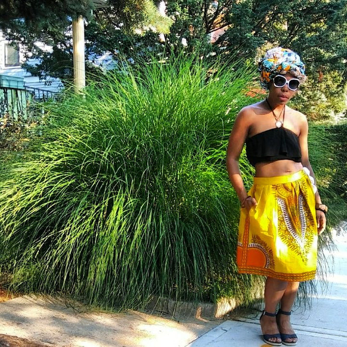 Handmade Dashiki Skirt with bow by Kannu Collection