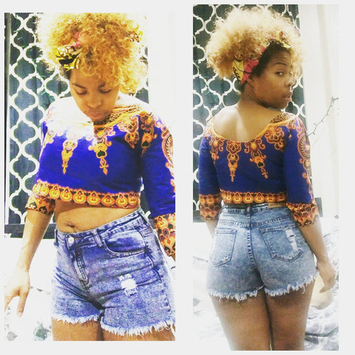 Kannu Collection: The Kannu Crop Top - Handmade African Dashiki