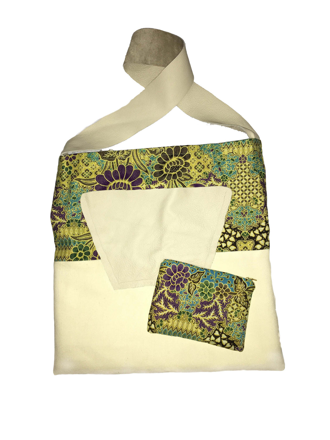 Handmade African Print  and Canvas Tote, Travel Bag, Diaper Bag, Carry-All, Cross-body Bag with big leather pocket and leather strap and matching pouch
