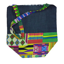 "Kannu Collection: ""The Shuntella"" Hamdmade African Print and Denim Reversible Tote Bag"