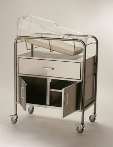 Bassinet with Drawer and 12″ Closed Cabinet - Model NB-SSXDC