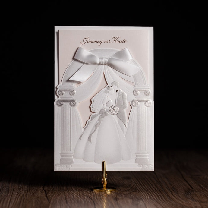 Customize Church Palace Design Laser Cut Wedding Invitations With Elegant Bride and Groom Marriage invites Cards Party Supplies