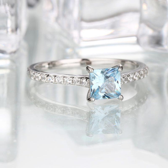 5*5mm Sky Blue Topaz Ring Engagement Wedding Ring 925 Sterling Silver Rings For Women Anniversary Vintage Gift Jewelry