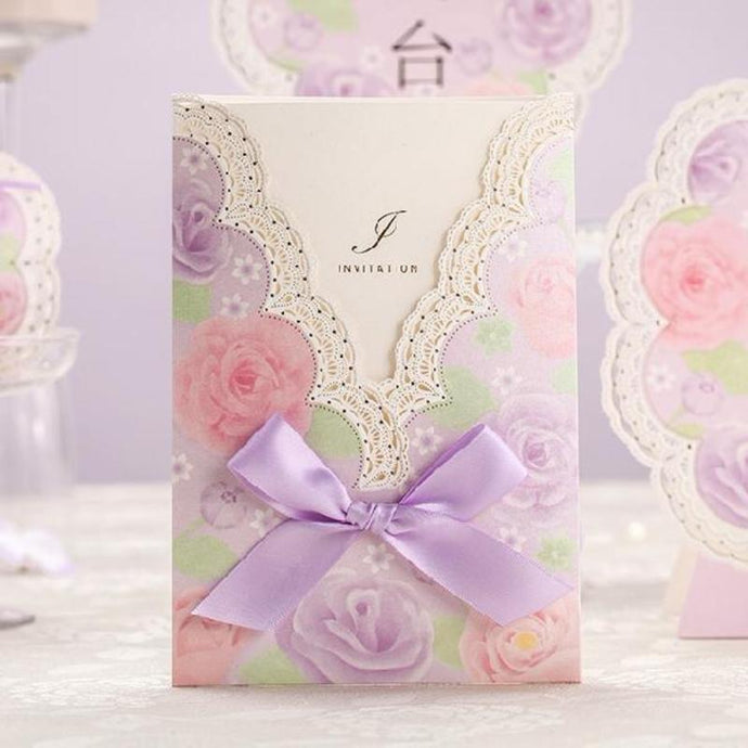 100pcs New Arrived Elegant Purple Laser Cut Wedding Invitation card with Bowknot V-neck Lace Flowers Decoration Wedding Supplies