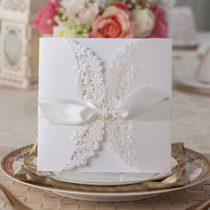 100pcs White Square Hollow Flora with Bowknot Customizable Vintage Laser cut Wedding Invitation,PK838_WH